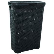 CURVER Koš na špinavé prádlo RATTAN, 61,5 x 26,5 x 44,8 cm, 40 l, tmavě šedý, 00709-308