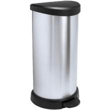 CURVER Odpadkový koš DECOBIN Pedal, 68 x 34,9 x 28,2 cm, 40 l, stříbrný/černý, 02150-582