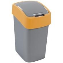 CURVER Odpadkový koš Flipbin, 47 x 26 x 34 cm, 25 l, stříbrná/žlutá, 02171-535