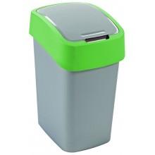 CURVER Odpadkový koš Flipbin, 47 x 26 x 34 cm, 25 l, stříbrná/zelená, 02171-P80