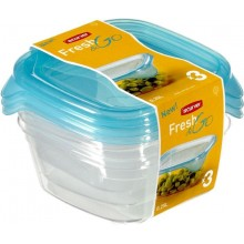 CURVER Dózy na potraviny Fresh&Go 3x 0,25 l, 19 x 10,5 x 10,5 cm, tranparentní modrá, 08557-051