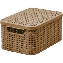 CURVER úložný box RATTAN S, 29,1 x 19,8 x 14,2 cm, světle hnědý, 03617-213