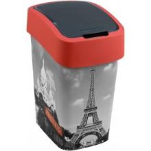 CURVER Odpadkový koš Flipbin PARIS, 47 x 26 x 34 cm, 25 l, červená/šedá, 02171-P67