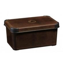 CURVER box úložný dekorativní S LEATHER, 13,5 x 29,5 x 19,5 cm, hnědá, 04710-D12