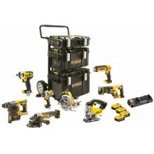 DeWALT Aku combo sada nářadí 18V 4x 5,0Ah Li-Ion XR, s vozíkem a kufry Tough DCK854P4-QW