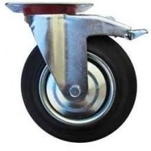 ERBA Kolo gumové s brzdou černé otočné motážní ploška 200 mm / 230 kg ER-33119