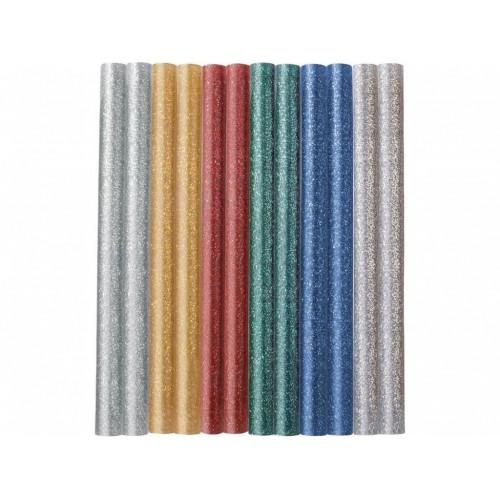 EXTOL CRAFT tyčinky tavné 7,2x100mm 12ks mix barev se třpytem 9910