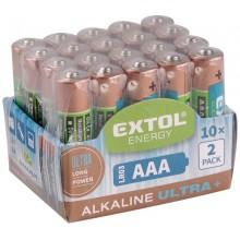 EXTOL Energy Alkalické tužkové baterie Ultra + AAA 1,5V, 20ks 42012