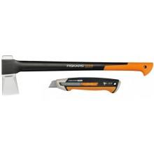 Fiskars Set štípací sekera X25 + odlamovací nůž CarbonMax 1057915