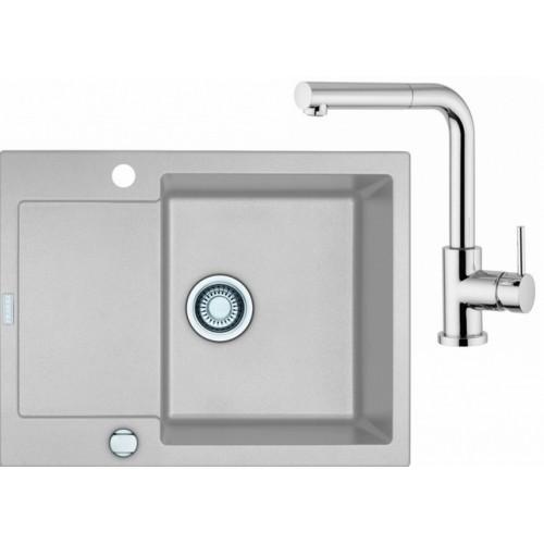 FRANKE SET G8 granitový dřez MRG 611-62 stříbrná + baterie FN 0147 chrom 114.0120.349