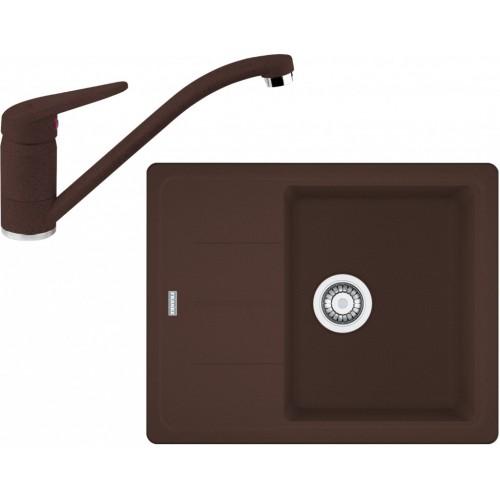 Franke SET G66 granitový dřez BFG 611-62 tmavě hnědá+baterie FC 9541 tmavě hnědá 114.0365.149