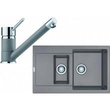 FRANKE SET G73 granitový dřez MRG 651-78 šedý kámen+baterie FC 7477 šedý kámen 114.0365.336