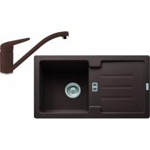 FRANKE SET G89 granitový dřez STG 614-78 tmavě hnědá + baterie FC 9541 tmavě hnědá 114.0366.007