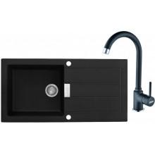 Franke SET T27 tectonitový dřez SID 611 černý + baterie FP 9900 černá 114.0366.033