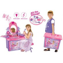 Dětský kosmetický stolek G21 se zrcadlem a zvuky v kufru 690411