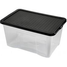 HEIDRUN Box úložný Quasar, víko Rattan, 30 x 60 x 40 cm, 60 l, transparentní/hnědá, 4625