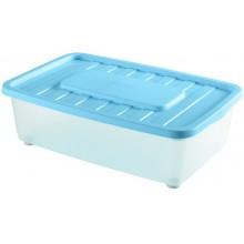 HEIDRUN Box úložný pod postel, 18 x 56 x 37 cm, 25 l, transparentní/modrá 1565