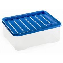 HEIDRUN Box úložný Quasar, 16 x 38 x 28,5 cm, 13 l, transparentní/modrá 1627Q