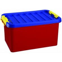 HEIDRUN Box úložný s víkem KIDS, 16 x 34 x 23 cm, 8 l, modrá/červená/žlutá, 1602/K