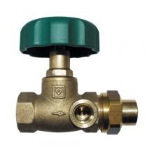 HERZ Uzavírací ventil přímý, DN 15, vnitřní závit x vnější závit + nátrubek, 2421511