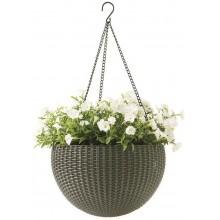 KETER HANGING SPHERE Planter květináč závěsný 35 x 35cm, ratan, mocha 17199246