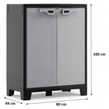 KIS TITAN LOW skříňka 80x44x100cm šedá/černá