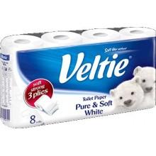 KLEENEX Welcomes Veltie Toaletní papír 8 rolí, 3-vrstvý, bílý 149781