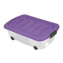KAISERHOFFPojízdný plastový úložný box, 60 x 38 x 17,5 cm, 24 l, transparentní/fialová,KO-899487fial