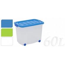 KAISERHOFF Úložný box pojízdný s klip víkem 60 l 60x38x44 cm zelená KO-Y54630120zele