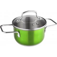 LAMART JOLI Nerezový hrnec LTSS1695G, 160 mm, 1,9 l, skleněná poklice, zelený, 42000345