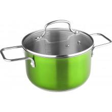 LAMART JOLI Nerezový hrnec LTSS2011G, 200 mm, 3,6 l, skleněná poklice, zelený, 42000347
