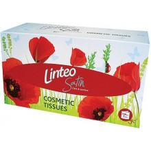 LINTEO SATIN Papírové kapesníky BOX 150ks, bílé, 2-vrstvé 3004