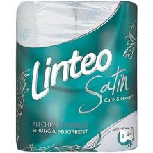LINTEO SATIN Kuchyňské utěrky 2 role, bílé, 2-vrstvé 60043