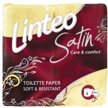 LINTEO SATIN Toaletní papír 4 role, žlutý, 2-vrstvý 20690