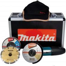 Makita uhlová bruska 125 mm GA5030RSP4, ALU kufr + 4ks brusných kotoučů + 1ks diamantový kotouč + 2ks řezací kotouče + čepice