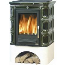 ABX Marina L Kachlová kamna na dřevo s lit. vložkou, výměníkem, zelená