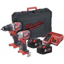 Milwaukee M18 CBLPP2B-402C Aku bezuhlíkový set nářadí 4933464593