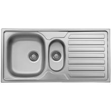 NOVASERVIS kuchyňský dřez 50 x 100 cm 1+1/2 s odkapem a přepadem nerez DR50/100
