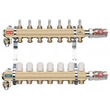 NOVASERVIS rozdělovač s termostatickými ventily, šroubením, průtokoměry, 6 okruhů RZP06