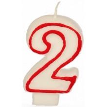 PAPSTAR Narozeninová svíčka - číslice 2 - bílá s červeným okrajem 7,3cm