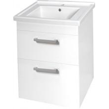 AQUALINE POLY umyvadlová skříňka 56x74,6x46,5 cm, 2 zásuvky, bílá PL060