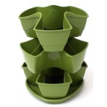 VÝPRODEJ PROSPERPLAST COUBI květináč 29,5x29,5x38cm, 9l, zelená DKN3003, CHYBÍ 1 VLOŽKA