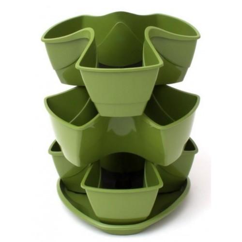 PROSPERPLAST COUBI květináč 29,5x29,5x38cm, 9l, zelená DKN3003
