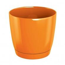 Květináč s miskou COUBI 18 cm, 2,8l, oranžová-lesk DUOP180