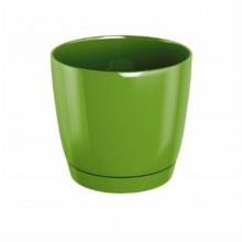 Květináč s miskou COUBI 28 cm, 11l, zelená oliva-lesk DUOP280