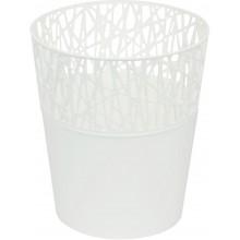 PROSPERPLAST CITY Květináč s krajkou 13,5 cm, bílá DCIT140