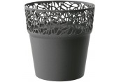 PROSPERPLAST NATURO Květináč s krajkou 14,5 cm, grafit DNAT145