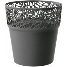 Prosperplast NATURO Květináč s krajkou 12 cm, grafit DNAT120