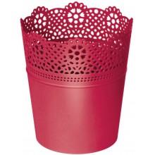 PROSPERPLAST LACE květináč s krajkou 13,5 cm, červená DLAC140
