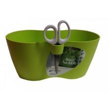 PROSPERPLAST LIMES DUBLO dvojkvětináč na bylinky s nůžkami 25x12x12cm, 2,5l, zelený DLD250